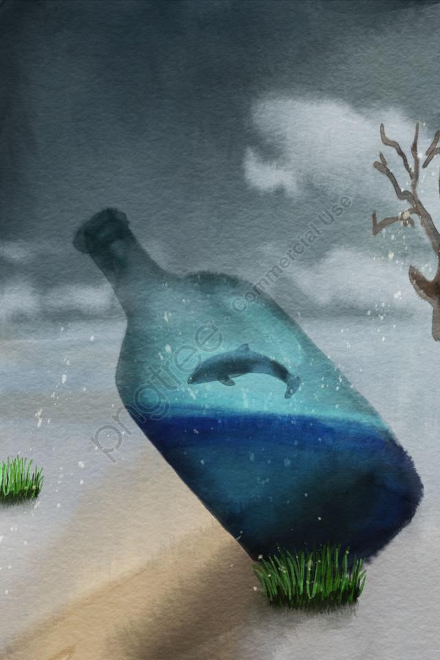 Bảo Vệ Môi Trường Tài Nguyên Nước Thiếu Chai Thủy Tinh, Cá Heo, Cây Khô, Cát llustration image