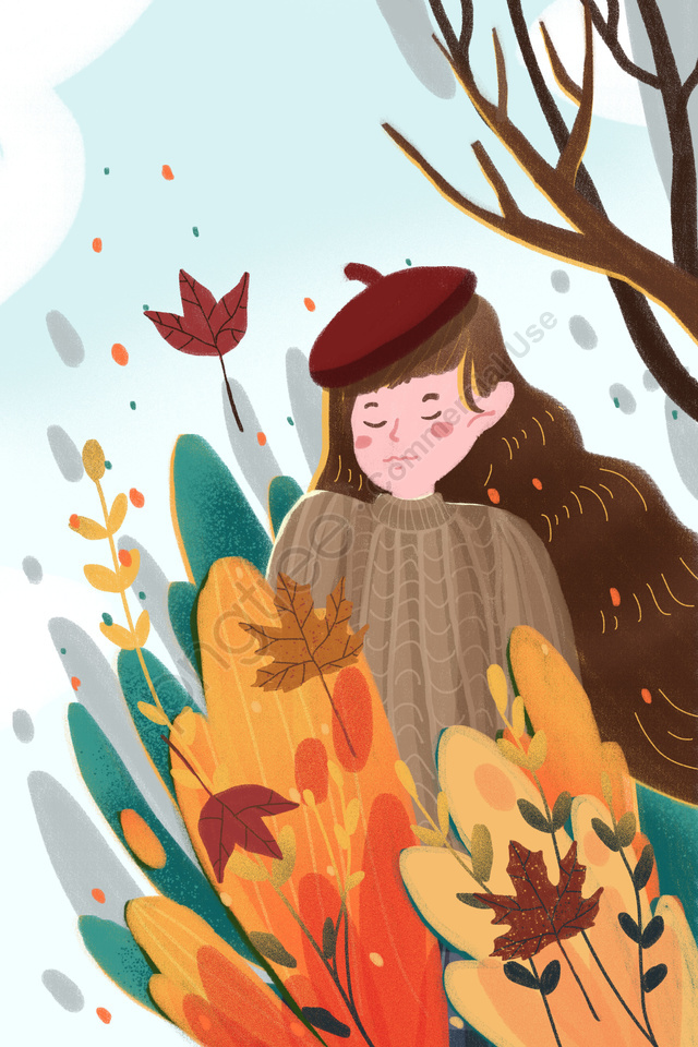 Fall Autumnal Autumn Autumn Day, Girl, Fallen Leaves, Red Leaf llustration image
