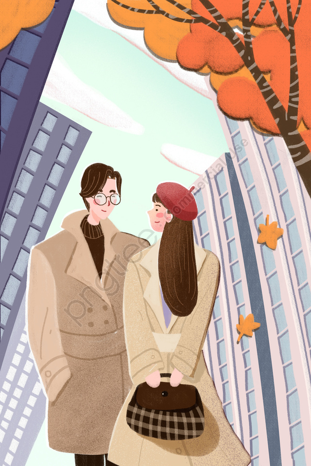 Fall Autumnal Autumn Autumn Day, Couple, City, Fallen Leaves llustration image