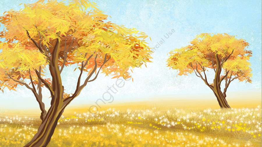 fall landscape background grassland, Golden Autumn, Autumn Color, Autumnal llustration image