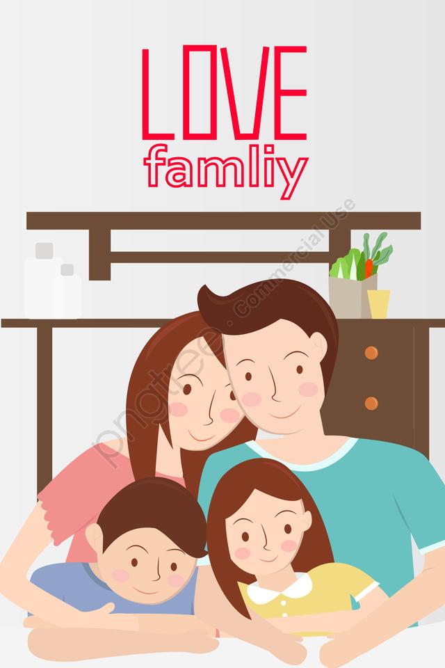 家族4人の母の日父の日, 子供の日, ホーム, 屋内 llustration image