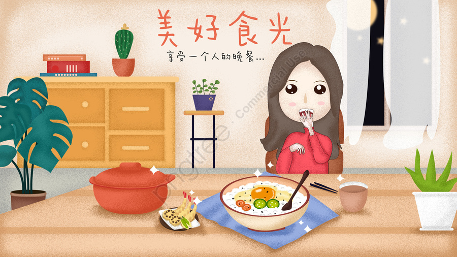 Family Eating Goods Food One Person, Coffee, Potted Plant, Cabinet llustration image