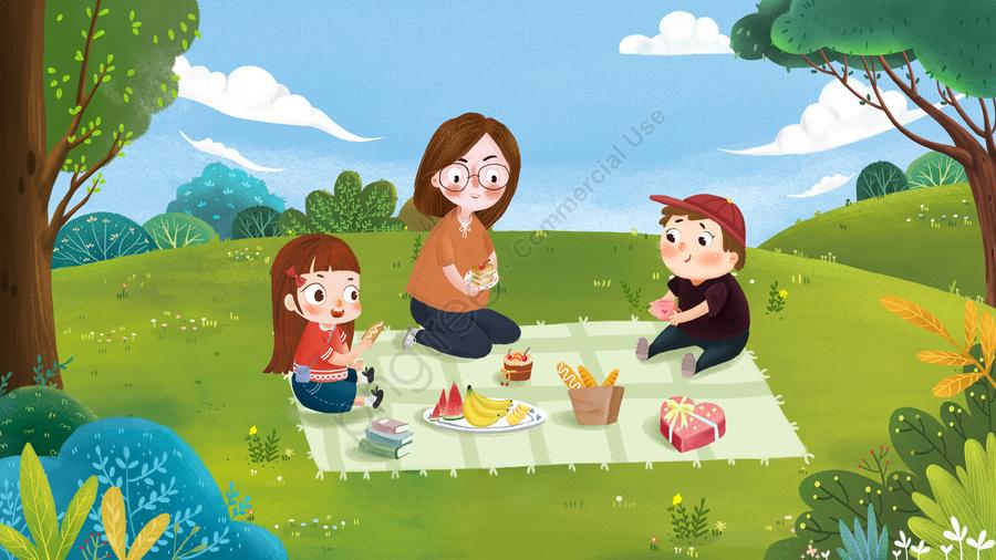 家族家族おでかけ子供, 母, 食物, 草原 llustration image