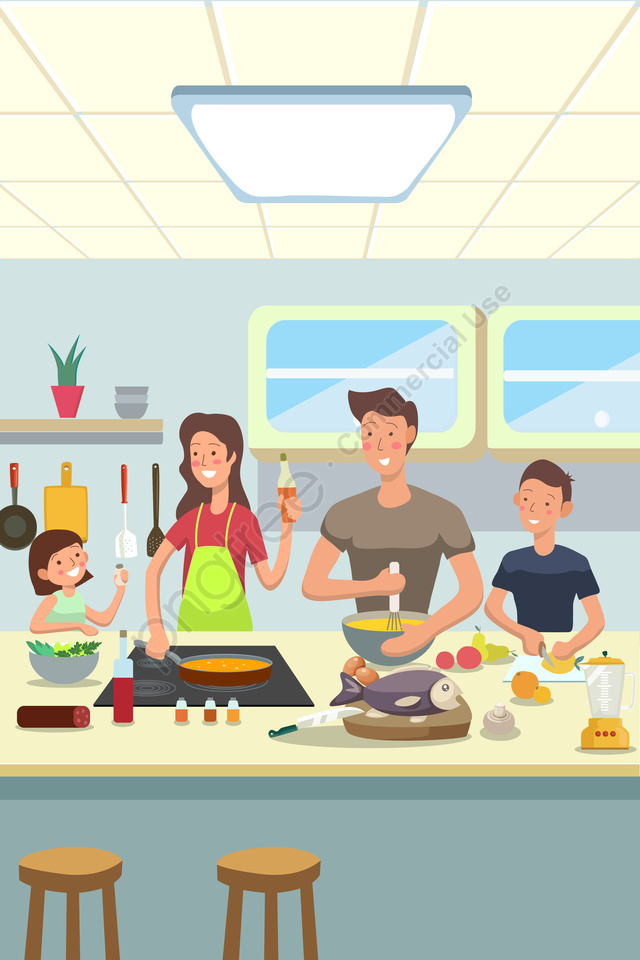 Family Reunion Cooking Warm, Family, Kitchen, Joy llustration image