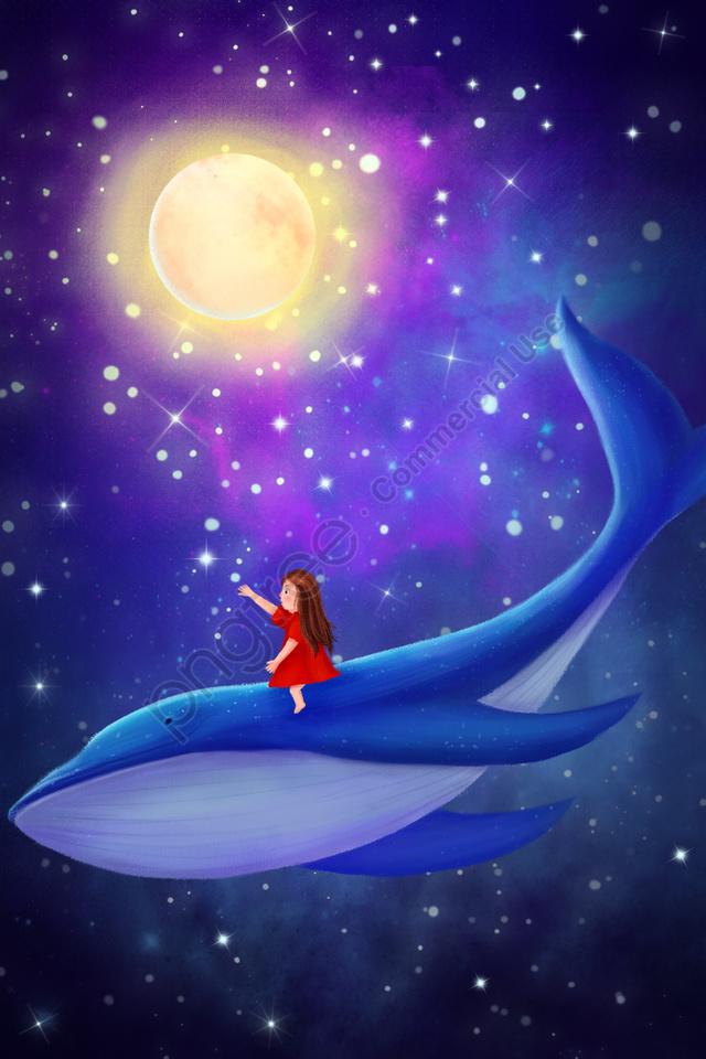 फंतासी तारों वाला आकाश हाथ खींचा चित्रण लड़की व्हेल, आकाश, स्टार, रात llustration image