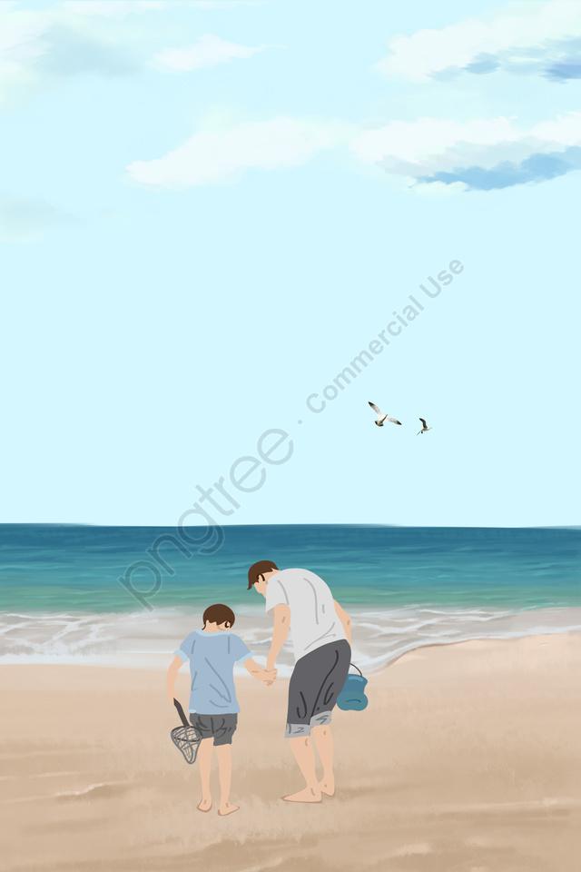 पिता और पुत्र पिता दिन नीले समुद्र तट सीगल, नीले आकाश, सफेद बादलों, आकस्मिक शैली की पृष्ठभूमि llustration image