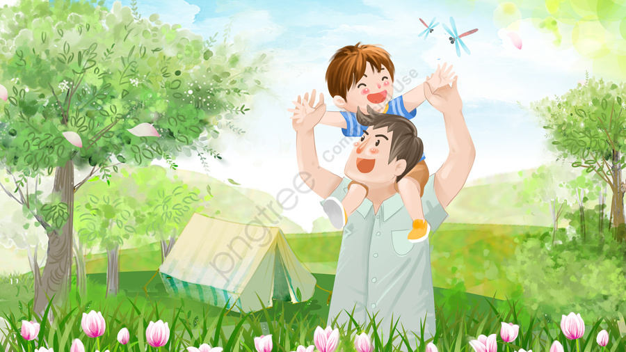 Fathers Day Childrens Day Play Spring Tour, Parent Child, Green, Fresh llustration image