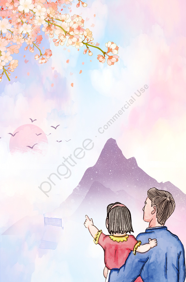 Fathers Day Warm Father And Daughter Cherry Blossoms Ad Watercolor Background Watercolor Advertising Background Illustration Image On Pngtree Free Download On Pngtree