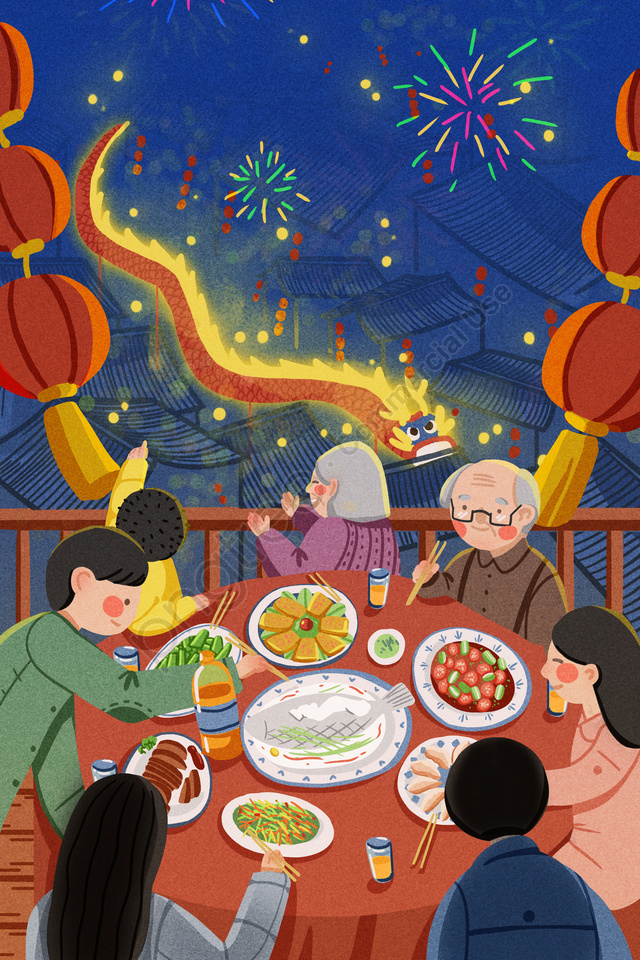festive new year of the pig dragon dance welcome the new year, New Years Eve, Firecracker, Lantern llustration image
