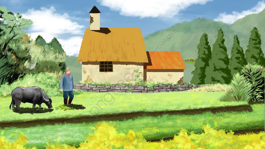 フィールド農村牛文字, グラス, 木, グリーンツリー llustration image
