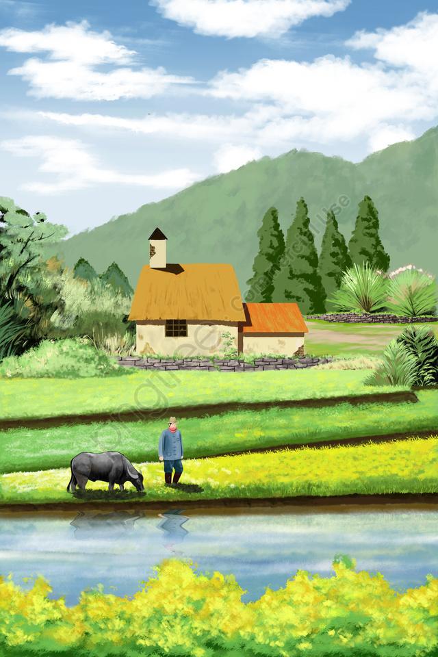 農村生活場草原, 綠色, 綠色植物, 植物 llustration image