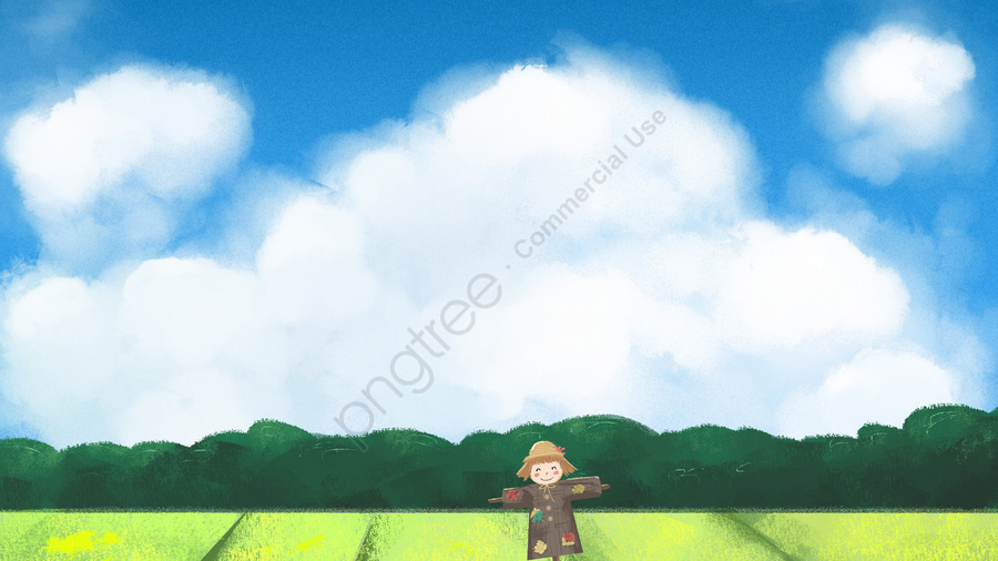 Field White Clouds Scarecrow Sky, Hand, Drawn, Field llustration image