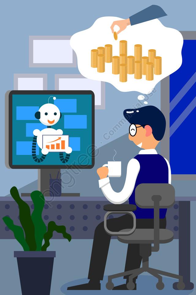финансовый бизнес финансовый менеджер робот, продать, прибыль, данные llustration image