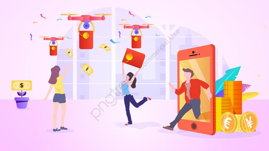 वित्तीय लाल लिफाफा चित्रण ढाल, मोबाइल फोन, जीवन शैली, ड्रोन llustration image