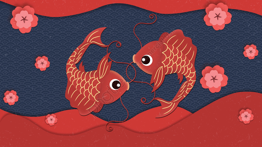 fish have fish every year spring festival new year, Festive, Cherry Blossoms, Plum Blossom llustration image