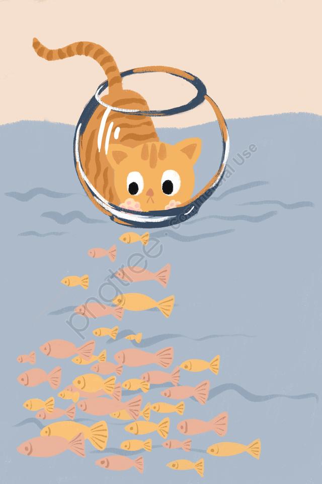 Peixe Tanque Gato Adorável Animal, Cute Pet, A água, Peixe Pequeno llustration image