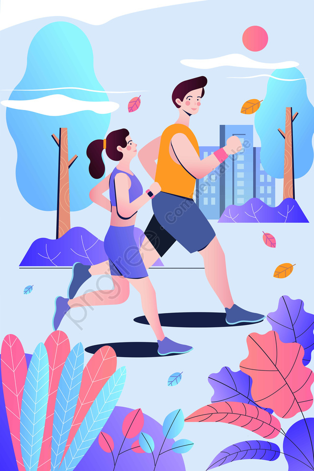 Fitness Motion Run Run, Gradient, City, Character llustration image