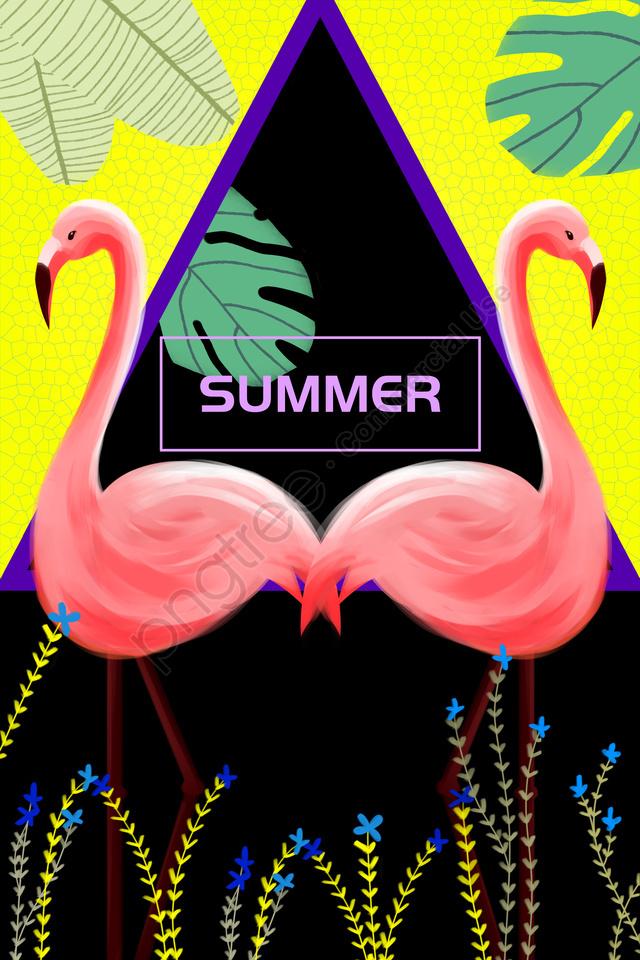 Flamingo Aves Moda Animal, Tendência, Personalidade, O Contraste De Cores llustration image
