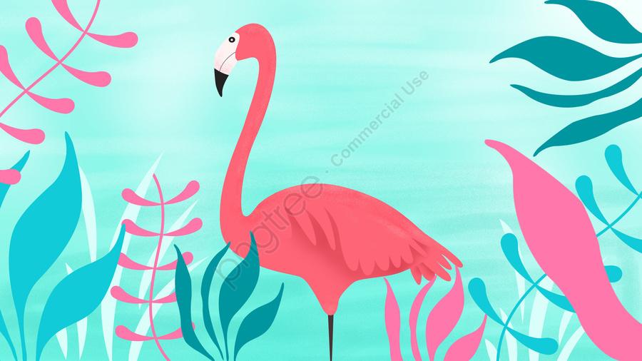 flamingo grass leaf spring, Spring, Illustration, Scenes llustration image