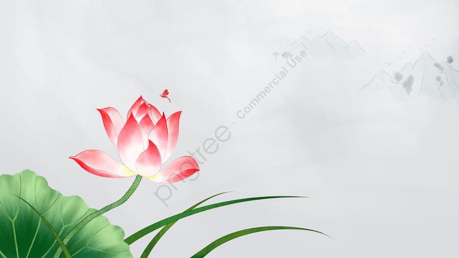 Bunga Teratai Daun Teratai Bunga, Gaya Cina, Lukisan Dakwat, Lukisan Cina Tradisional llustration image