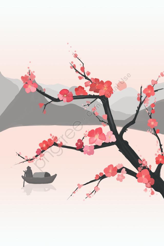 花モモ花古代新鮮です, ファーマウンテン, ボート, イラスト llustration image