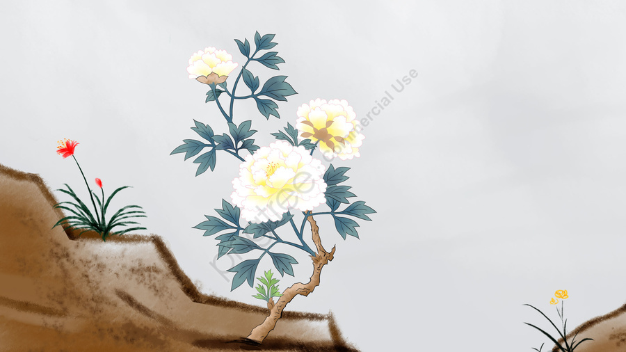 flowers plant antiquity chinese style, Ink Painting, Traditional Chinese Painting, Meticulous Painting llustration image