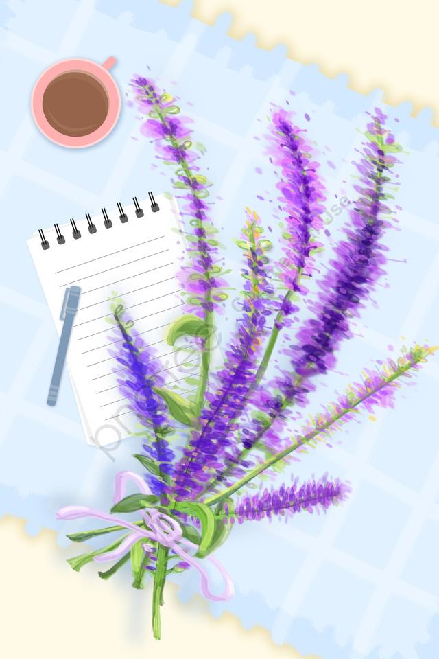 Caderno Da Alfazema Da Planta Das Flores, Toalha De Mesa, Café, Caneta llustration image