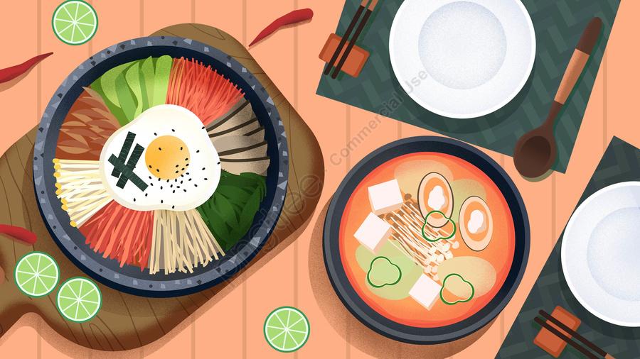 food food cuisine illustration, Hand Painted, Korea, Bibimbap llustration image