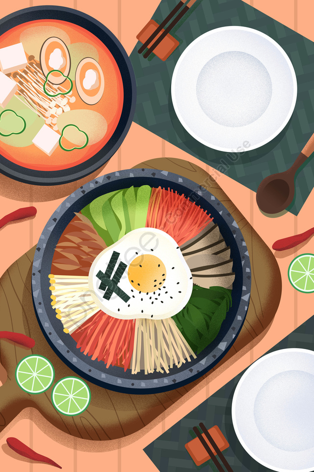 Thực Phẩm ẩm Thực Minh Họa, Bằng Tay, Triều Tiên, 比比巴 llustration image