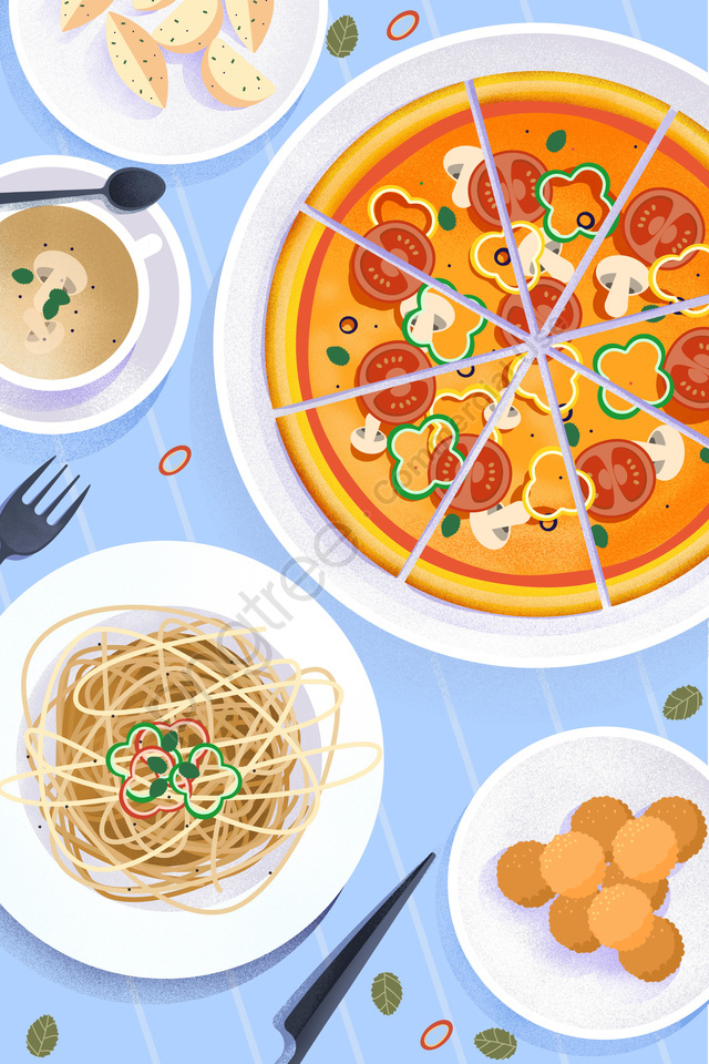 food food cuisine illustration, Hand Painted, Italy, Spaghetti llustration image