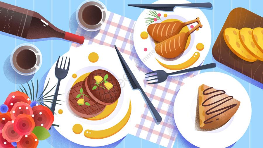 food food cuisine illustration, Hand Painted, French Cuisine, France llustration image