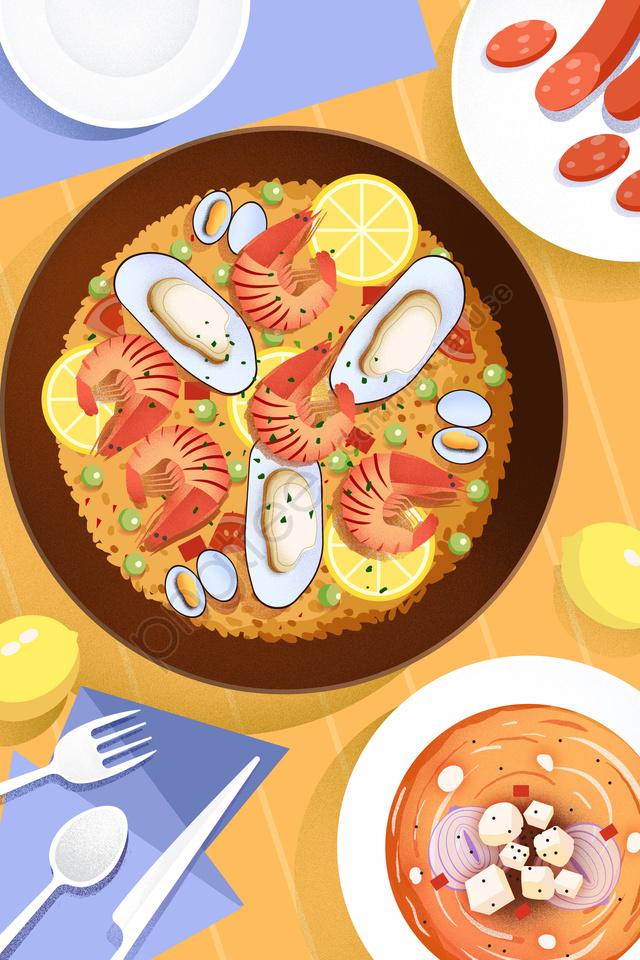 food food cuisine illustration, Comfort Food, Seafood Rice, Seafood llustration image