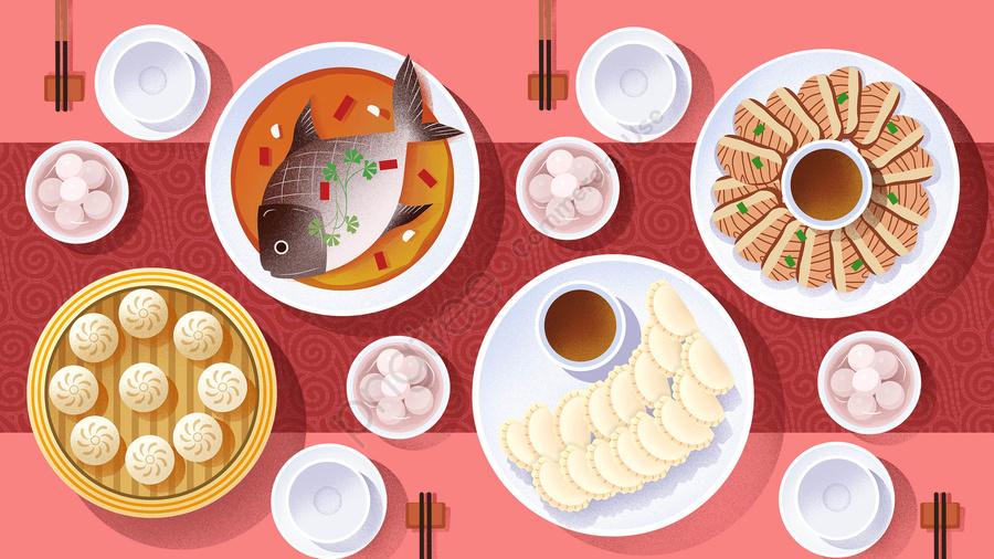 food food cuisine illustration, Chinese Cuisine, Breakfast, Dumplings llustration image