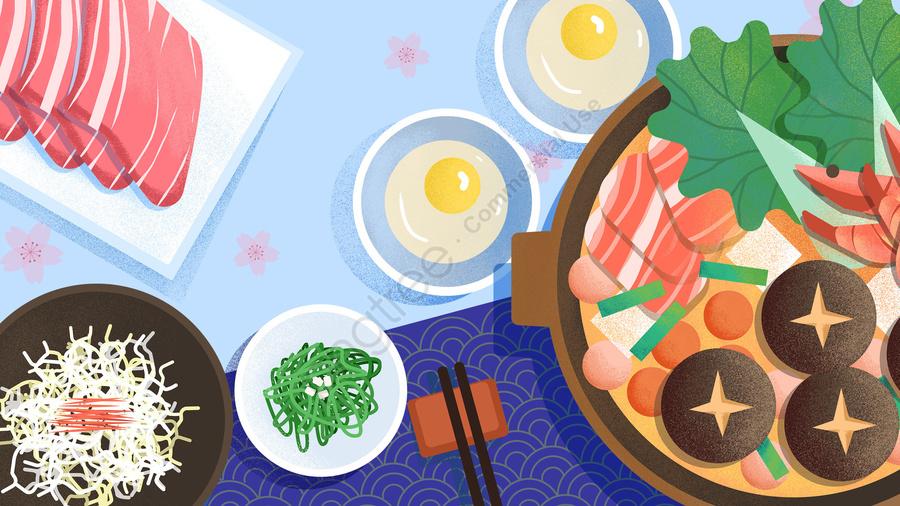 food food illustration hand painted, Japanese Style, Japan, Shouxi Pot llustration image
