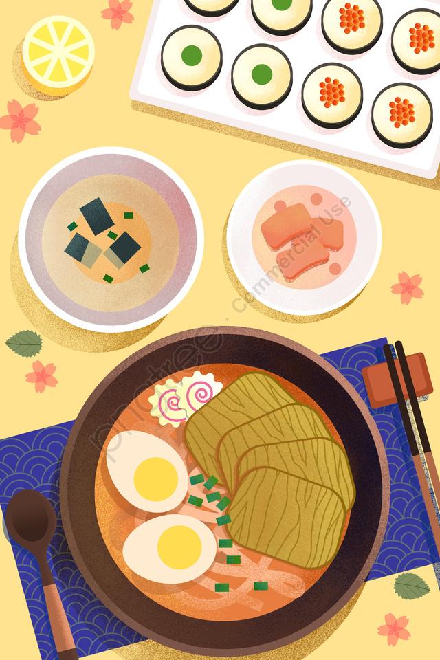 food food illustration hand painted, Japanese Style, Japan, Hand Pulled Noodle llustration image