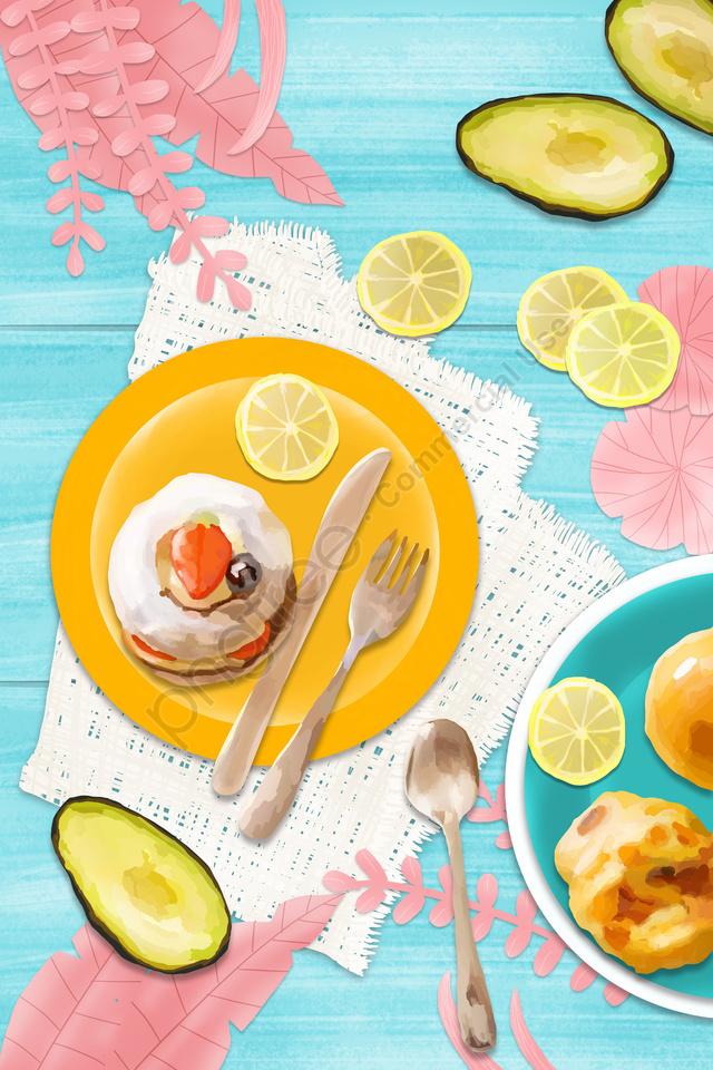 food fruit small cake breakfast, Illustration, Avocado, Lemon llustration image