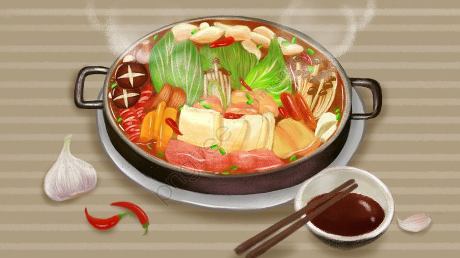 Food Garlic Chili Vegetables, Meat, Chopsticks, Hot Pot llustration image