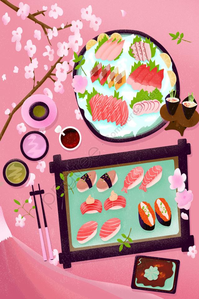 食べ物和食寿司桜, 刺身, ピンク, 火山 llustration image