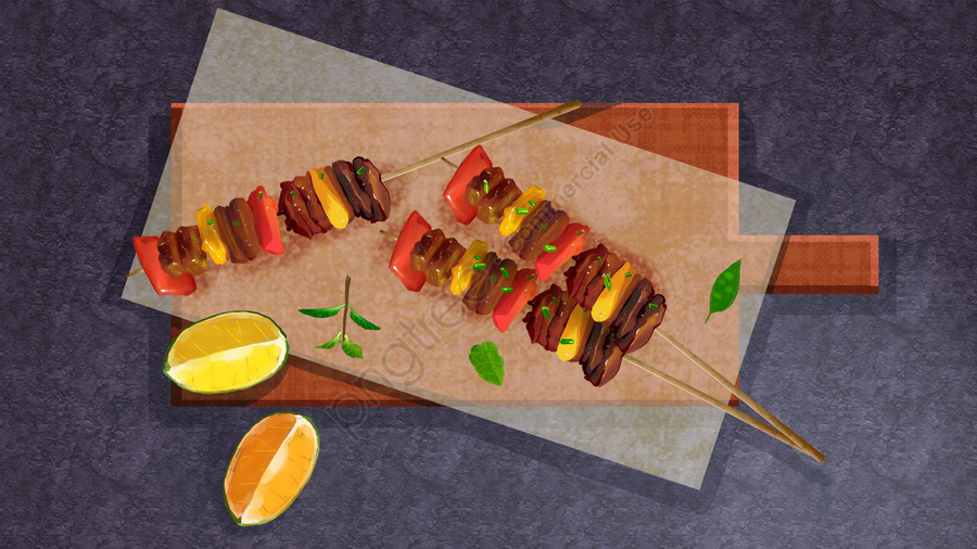 food skewers lemon fast food, Napkin, Meat Skewers, Illustration llustration image