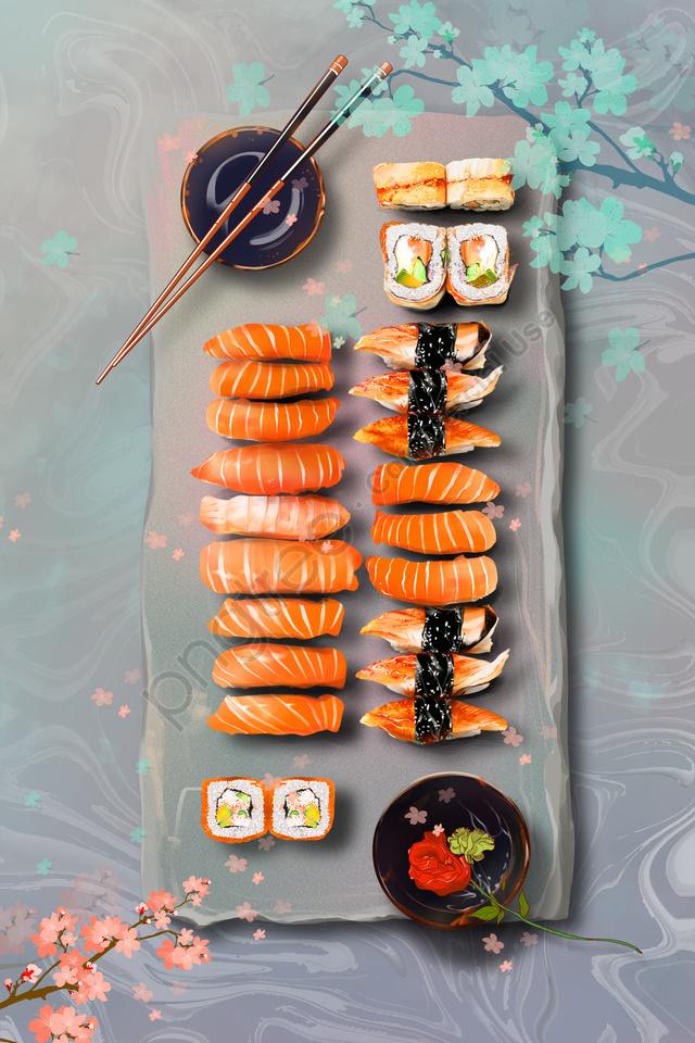 食べ物寿司日本暖かい色, あたたかい, 桜, 東京 llustration image