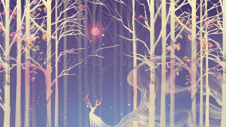 Rừng Nai Mặt Trăng Màu Sắc Mát Mẻ, ấm áp, Vẻ đẹp Nghệ Thuật, 枫叶 llustration image