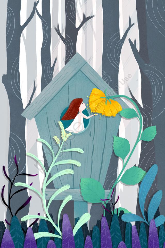 forest trees plant blue, 森の中の手描きキャビン, 森, 木々 llustration image