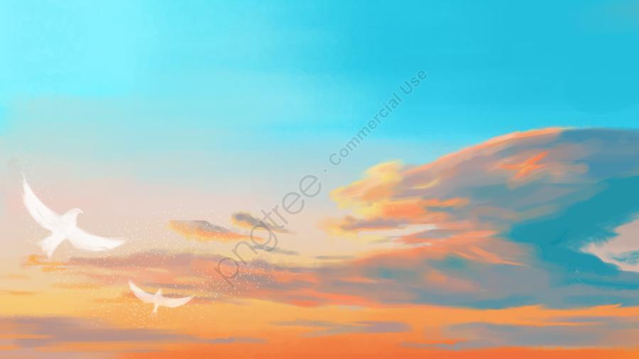 新鮮な明るい暖かい雲, バード, イラスト, 新鮮 llustration image