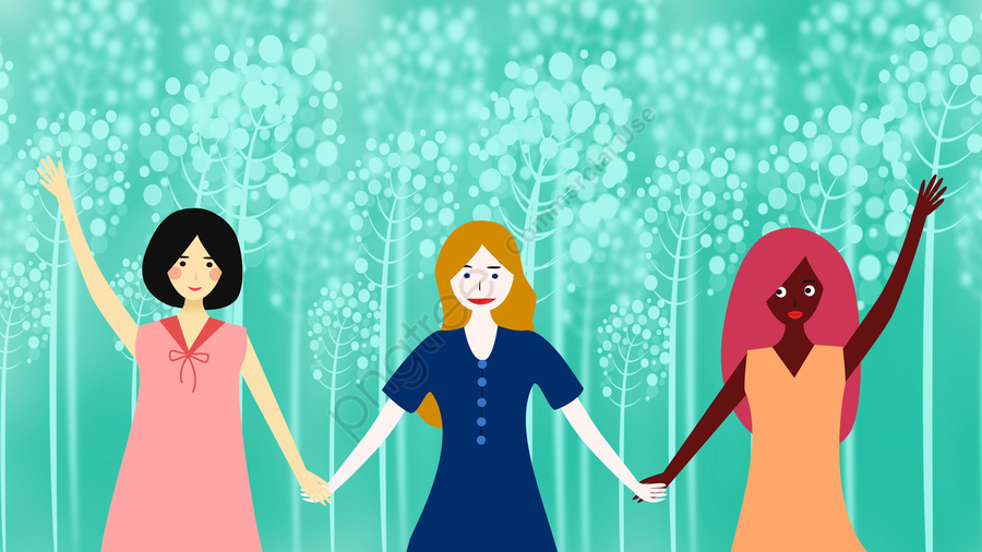 Friendship Foreigner Girl Different Skin Tone, Different Races, Friendship, Hand In Hand llustration image