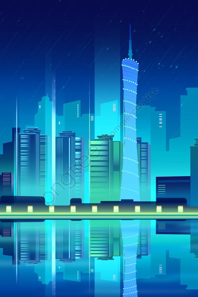 Tương Lai Công Nghệ Thông Minh Hình Bóng Thành Phố, Thành Phố đêm, Màu Xanh., Tòa Nhà llustration image