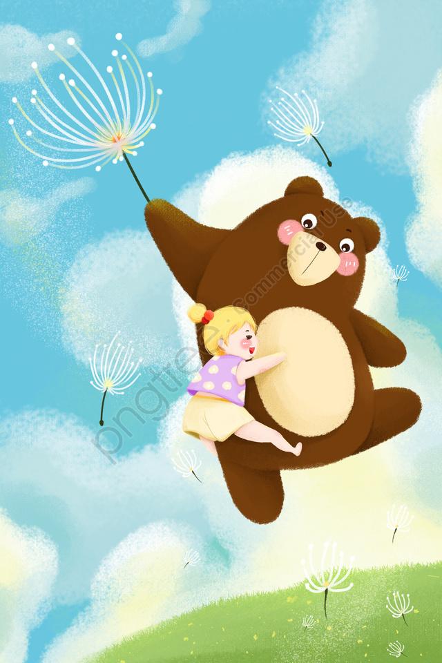 優しい女の子クマタンポポフライ, フライング, ブルー, 漫画 llustration image