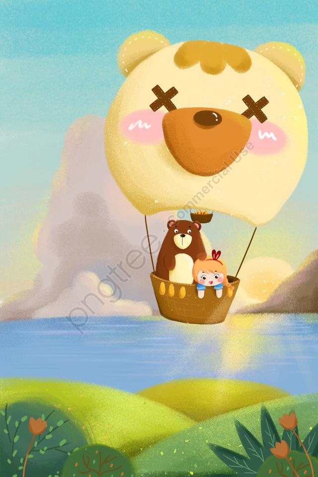 穏やかな女の子クマ、熱気球の雲, 空気, バルーン, イエロー llustration image
