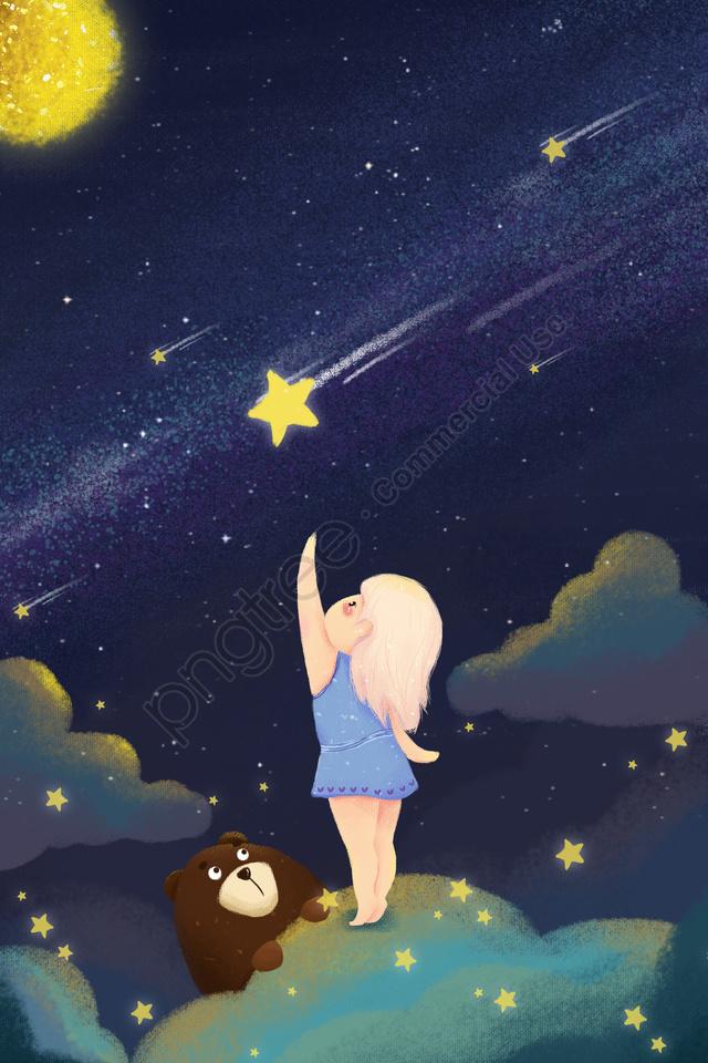 穏やかな女の子が星月を拾う, 星, ブルー, 漫画 llustration image