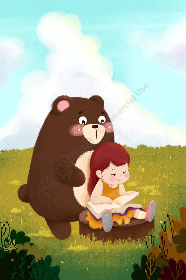 gentle girl bear reading tree stump, Book, Green, Cartoon llustration image