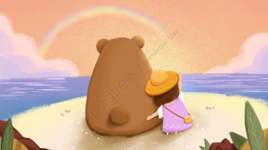 нежная девушка медведь море пляж, море, оранжевый, мультфильм llustration image